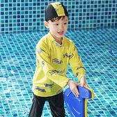 卡通 波浪 印花 長褲 兩件套 長袖 兒童泳裝