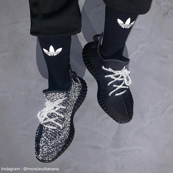 現貨秒發 Adidas Yeezy Boost 350 V2 Black Reflective FU9007 滿天星 黑 全反光