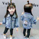 女童牛仔外套春秋新款女寶寶洋氣韓版繡花貓咪破洞上衣夾克潮