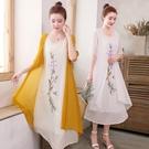 洋装 中大尺碼 夏季棉麻連身裙中國風大碼...