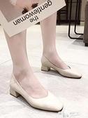 單鞋女ins潮奶奶鞋新款方頭粗跟軟皮女鞋百搭黑色中跟晚晚鞋 618促銷