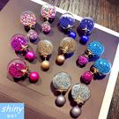 【20A95】shiny藍格子-鮮艷色彩.百搭氣質許願沙球前後式耳環