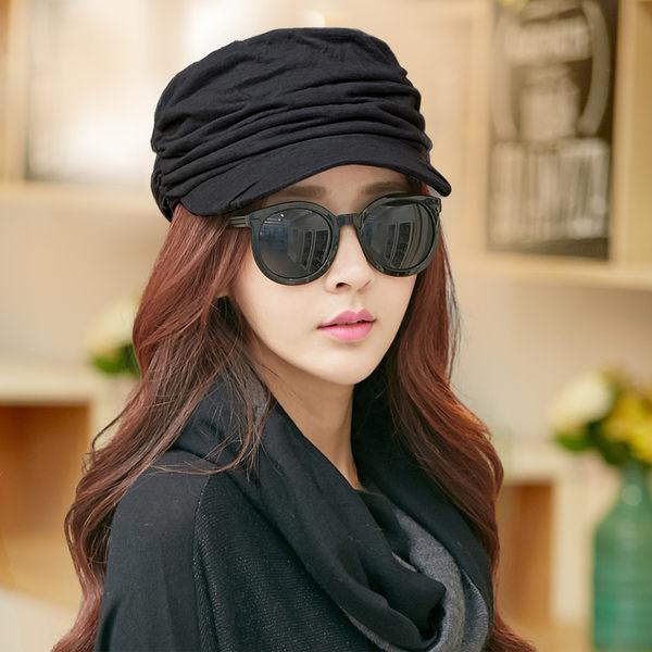 帽子女夏天韓版潮遮陽帽女貝雷帽顯褶皺平頂帽軍帽鴨舌帽八角帽