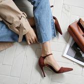 高跟鞋女秋2018新款韓版性感百搭一字扣帶尖頭淺口單鞋細跟女鞋子
