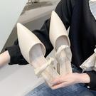 穆勒鞋 2021年新款包頭半拖鞋尖頭拖鞋女夏外穿時尚低跟小香風穆勒懶人鞋 小天使 618