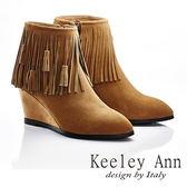 ★零碼出清★Keeley Ann 前衛衝擊~真皮素面極簡流蘇楔型短靴(棕色)