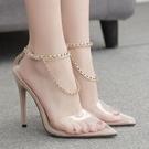 高跟鞋 歐美透明尖頭鏈條大碼高跟女涼鞋 ...