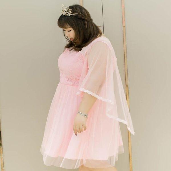 新春狂歡 特大碼女裝夏裝蕾絲花邊仙敬酒服連衣裙03739