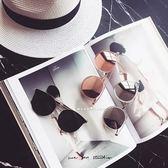 現貨-韓國大熱銷款復古瘦臉圓框女士彩膜半框太陽鏡圓臉潮人反光墨鏡34