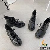 厚底鞋機車短靴粗跟馬丁靴女短筒【創世紀生活館】