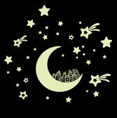 壁貼 夜光貼★99免運★房間佈置 兒童卡通月亮房子星光螢光貼  DIY隨意貼 發光牆貼紙【A1008】