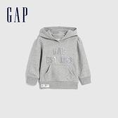 Gap女幼童 LOGO刺繡寬鬆式連帽休閒上衣 627834-淺灰色
