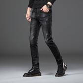 秋冬新款韓版彈力修身小腳牛仔褲男潮流黑色男士褲子休閒厚款潮牌  極有家