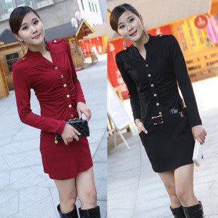 新款春裝新品女裝時尚修身高貴氣質長袖針織連衣裙 830