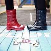 雨鞋  情侶英倫馬丁男雨鞋高筒雨靴女雨鞋防滑中筒時尚春秋水鞋防水膠靴