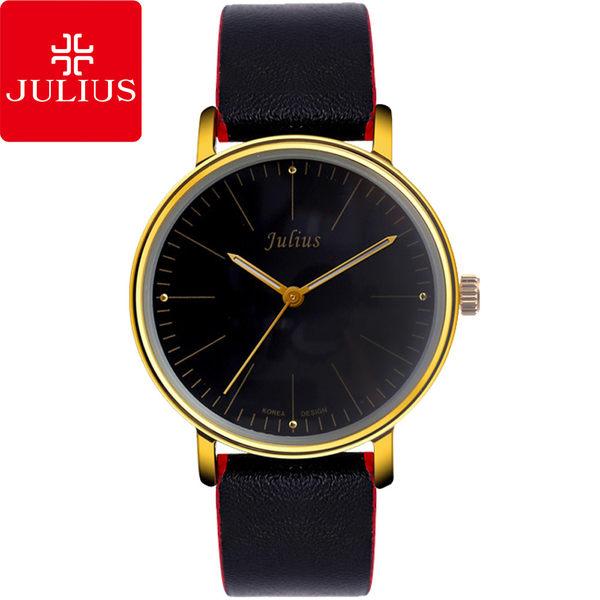 JULIUS 聚利時 早安地中海簡約大鏡面皮帶腕錶-黑×黑/40mm 【JA-814MB】