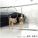 『坂井.亞希子』個性派喵星人立體拼接擺動珍珠耳環