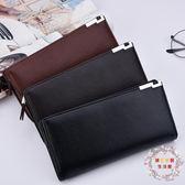 交換禮物-男士錢包長版時尚皮夾多卡位錢夾手包男款商務拉鍊多功能手機包潮
