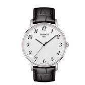◆TISSOT◆ EVERYTIME LARGE簡約大三針石英腕錶 T109.610.16.032.00 白X黑