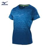 MIZUNO 女裝 上衣 短袖 T恤 路跑 慢跑 訓練 吸汗 快乾 反光印花 藍 灰藍【運動世界】J2TA920215