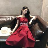 韓國復古方領背帶露肩露背中長款收腰吊帶紅色洋裝女 伊莎公主