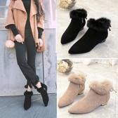 馬丁靴女短筒磨砂鞋子冬季2018新款加絨毛毛低底棉鞋尖頭粗跟短靴