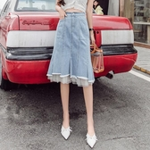 網紗牛仔裙 牛仔裙半身裙中長款女2020春夏新款高腰網紗拼接不規則a字包臀裙 伊蘿