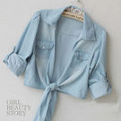 SISI【C3031】韓版碎花翻領洗舊刷色折袖短版丹寧牛仔襯衫綁帶