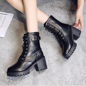 馬丁靴女粗跟新款冬靴百搭學生中筒靴厚底高跟短靴單靴女
