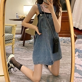 復古無袖方領洋裝女夏季新款高腰法式牛仔短裙子氣質顯瘦背帶裙 「雙10特惠」