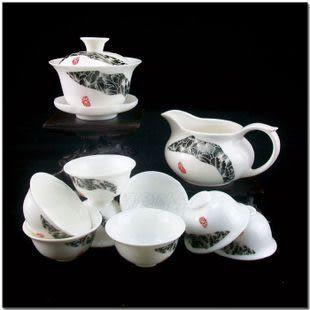 10頭黑牡丹玉瓷茶具