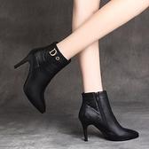 細跟靴短靴女小跟細跟尖頭2021新款春秋冬單靴加絨皮鞋高跟馬丁靴 芊墨左岸