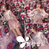 洋氣短褲套裝女夏季2018新款小心機俏皮溫柔風女神范chic兩件套潮