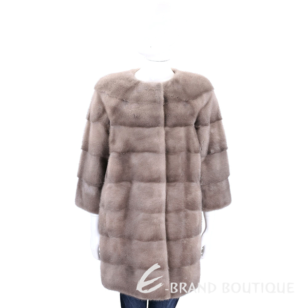 GRANDI furs 灰駝色七分袖皮草大衣 1710174-02
