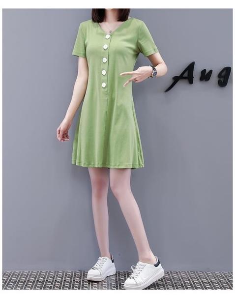 中大尺碼連身裙休閒M-4XL大碼女裝牛油果綠短袖V領連身裙中長款顯瘦T卹裙女4F0388501號公館