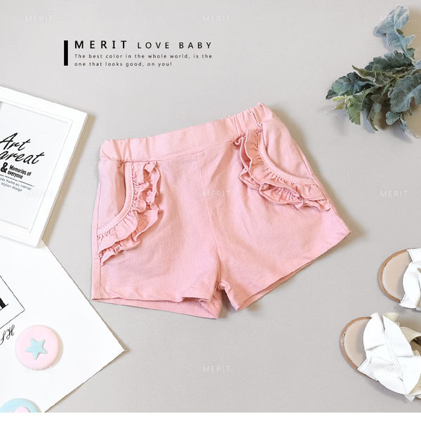 粉嫩木耳邊甜美口袋平織褲 女童短褲 休閒 女童 粉色 哎北比童裝