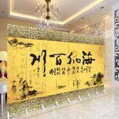 8扇中式時尚山水字畫屏風隔斷雙面折疊移動酒店客廳辦公室內風水折屏定制QM『櫻花小屋』