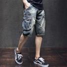 短褲/五分褲 寬鬆休閒男士牛仔短褲男夏季薄款大碼工裝破洞男潮牌5五分褲中褲