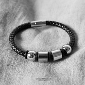 手環 潮流個性黑色編織皮革白鋼四環造型手鍊 經典時尚 低調品味【NA369】簡約元素