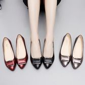 媽媽鞋軟底淺口中年女士單鞋中跟粗跟皮鞋工作鞋防滑女鞋春『櫻花小屋』