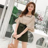 限時38折 韓國風時尚顯瘦荷葉邊V領雪紡衫腰帶寬口套裝短袖褲裝