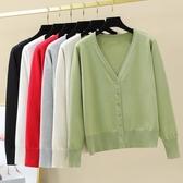 牛油果綠素色開衫薄毛衣外套秋季小香風韓版單排扣針織衫開衫 新年特惠