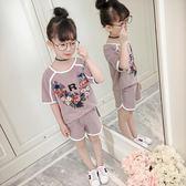 【全館】現折200女童夏裝運動套裝新款正韓兒童中大童休閒上衣短褲洋氣兩件套