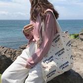 帆布袋 字母 帆布袋 清新 單肩包 手提袋 環保購物袋--手提/單肩【SPE90】 ENTER  07/19