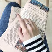 純銀戒指女韓版簡約清新個性首飾品可調節開口戒食指戒指學生指環 東京衣櫃
