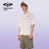 2020夏季新款日系POLO衫男短袖港風ins寬鬆翻領刺繡T恤五分袖