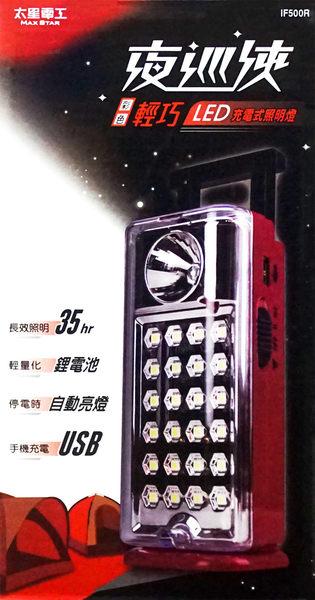 夜巡俠24LED充電式緊急照明燈-紅/黃