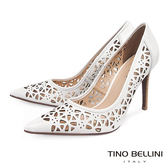 Tino Bellini 巴西進口精緻鏤空雕花藝術尖楦跟鞋 _ 白 A83041A 歐洲進口款