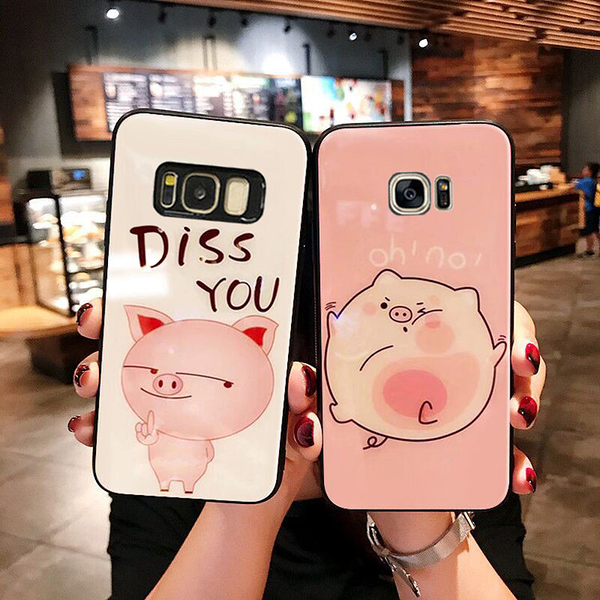 三星S20 Ultra可愛小豬玻璃手機殼 SamSung s20 日系卡通手機套 三星S20手機保護殼Galaxy S20+保護套