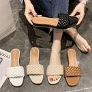 楔型鞋.MIT韓風優雅編織一字帶低跟方頭拖鞋.白鳥麗子